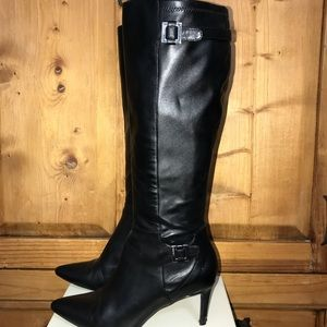 Calvin Klein leather/textile tall boots.
